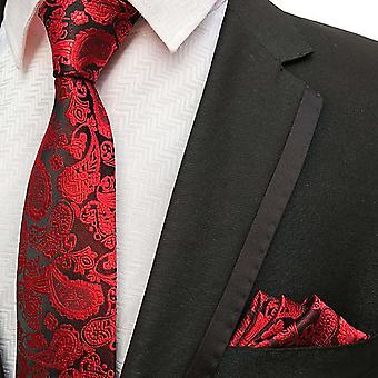 Kirkkaanpunainen paisley-solmio & taskun neliösetti