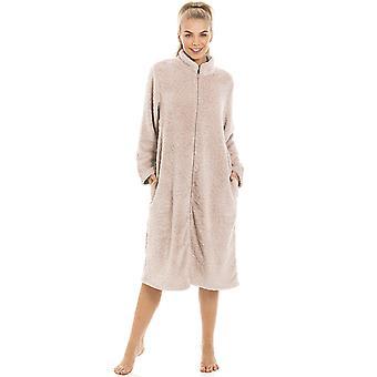Camille Womens Soft Fleece Mink Zip Front House Coat