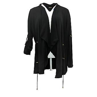 IMAN Global Chic Women's Sweater Drape Front Utility Topper Black 742655