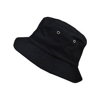 Chapéu de Balde de Algodão Unissex, Chapéu de Sol da Praia de Viagem (Preto)