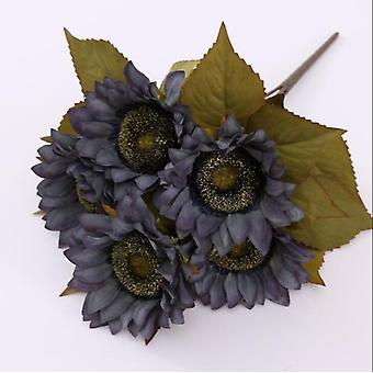 5 Köpfe künstliche Blumen Sonnenblumen Kunststoff Blumen Dekoration gefälschte Blume Loggerhead Blumen-weiß