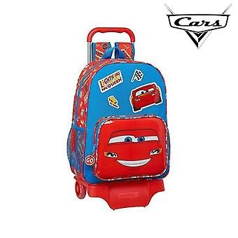 School Rucksack with Wheels 905 Cars Mc Queen Blue Red