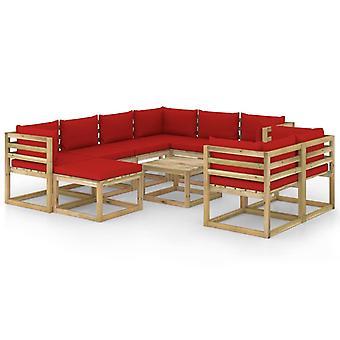 vidaXL 10 pezzi. Set da salotto da giardino con legno di pino impregnato di cuscino