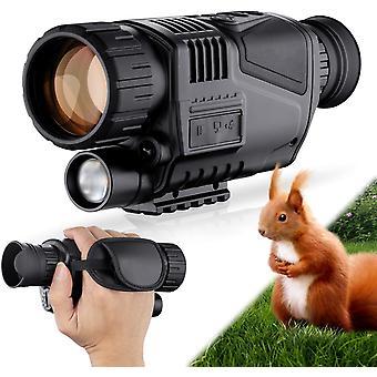 Vision nocturne numérique 5X40 monoculaire pour le jour et la nuit - Lunettes de vision nocturne de la caméra infrarouge HD avec carte TF 8G pour adultes chasse de nuit et faune (noir)