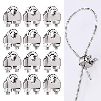 12 Pcs M3 Cable Clamps Heavy Duty, 304 Stainless Steel U Bolts Wire Rope Clamps, Support A Load Of 300 Tons, Metal Cable Crips For Garden Fences Cable