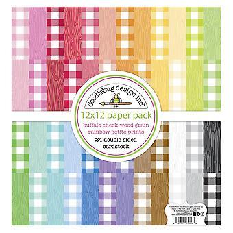 "Doodlebug Petite Prints Double-Sided Cardstock 12""X12"" 24/Pk - Buffalo Check-Wood Grain Rainbow"
