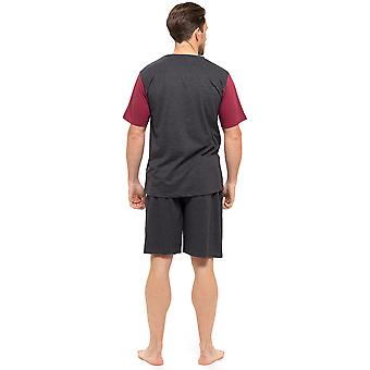 Mens T-Shirt Top & Shorts Pyjama Set Loungewear Cotton S-XL (Medium, New Grey-Red)