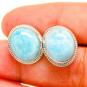 """Larimar Earrings 1/2"""" (925 Sterling Silver)  - Handmade Boho Vintage Jewelry EARR419425"""