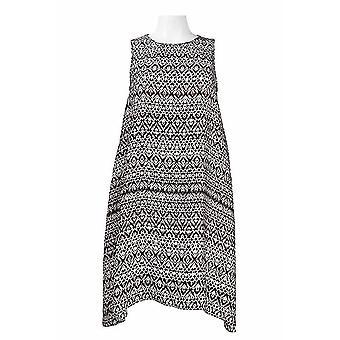 Ausschnitt ärmellos gedruckt Chiffon Trapez Kleid