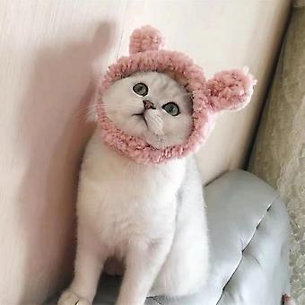 Pet Hat, Bear Plush Headgear (pink) - S