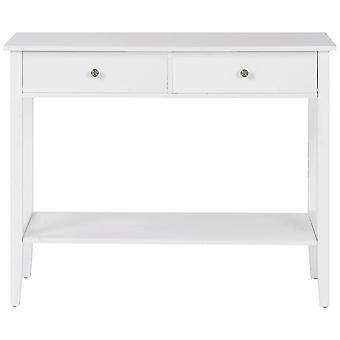 White Console Table With Two Drawers For Living Room Bedroom Hallway