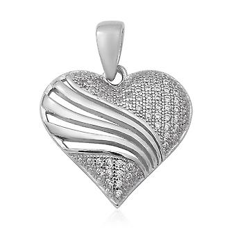 Elanza weiß Zirkonia Herz Anhänger in Silber 0.67ct