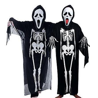 2pcs Halloween Skelett Kostüm Kleidung Geist Mantel Skelett Mantel