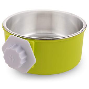 Rostfritt stål avtagbar hundskål, hängande pet bowl bur, liten vattenskål, husdjurstillbehör, grön