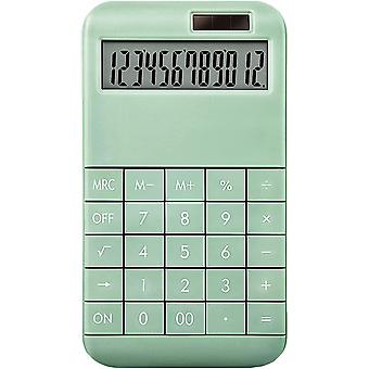 Electronic Calculator, 12-digit Lcd Large Display Dual Power Supply Standard Function Solar Calculator, Large Sensitive Buttons, (green)
