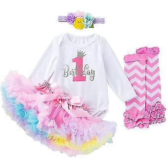 Kisgyermek lányok Az én 1. születésnapi ruhák, hosszú ujjú Romper Tutu szoknya Láb Melegítők Fejpánt (4-6