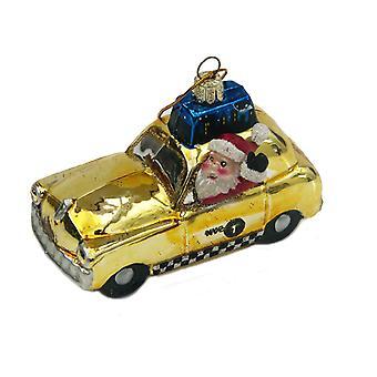 سانتا كورت أدلر يقود تاكسي نيويورك الأصفر الزجاج عطلة زخرفة