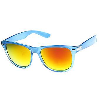 Suuri ylimitoitettu läpikuultava runko väri peili Horn reunustetut aurinkolasit