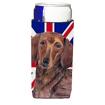 Dackel mit englischen Union Jack britische Flagge Ultra Getränke Isolatoren für sli
