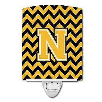 Letter N Chevron Black and Gold Ceramic Night Light