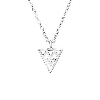 المثلث-925 الاسترليني فضة عادي قلادات-W32218x