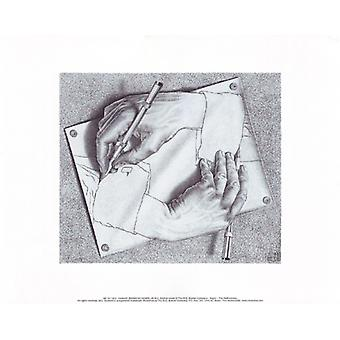 Drawing Hands Poster Print by MC Escher (14 x 11)