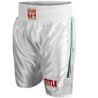 Title Boxing Golden Boy Pro Style Lightweight Boxing Trunks - White/Red/Green