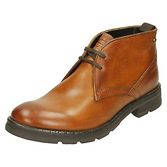 Mens Base London Ankle Boots Archer - Washed Tan Leather - UK Size 7 - EU Size 41 - US Size 8