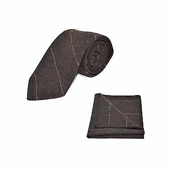 Luxe chocolade bruin Tie Graatvormige & zak vierkante Set - Tweed, geruite land Look
