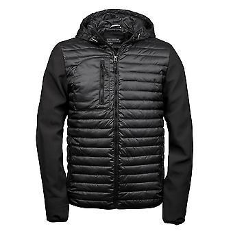 Teejays Mens Hooded Full Zip Crossover Jacket