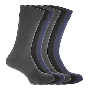 FLOSO Mens Cotton Mix Lycra Socks (Pack Of 6)