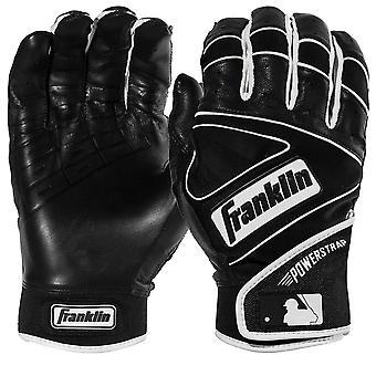 Franklin Adult Powerstrap MLB Batting Gloves - Black/Black