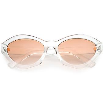 Modern Chunky Neutral Colored Cat Eye Sunglasses Oval Flat Lens 56mm