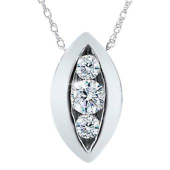 1/2ct Three Stone Past Present Future Diamond Pendant 14K