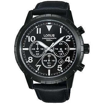 Lorus Men's Black Chronograph Black Leather Strap RT365FX9 Watch
