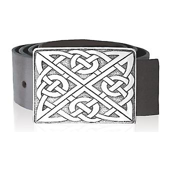 Celtic Knotwork Rectangular Pewter Kilt Buckle 88mm x 65mm