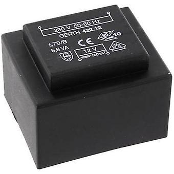 Gerth PTB421202 PCB mount transformer 1 x 230 V 2 x 6 V AC 5.60 VA 466 mA