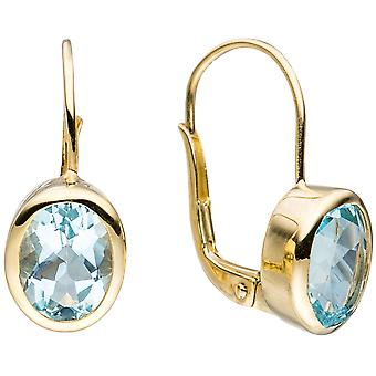Boutons oval 333 Gold Yellow Gold 2 blue topazes light blue blue earrings