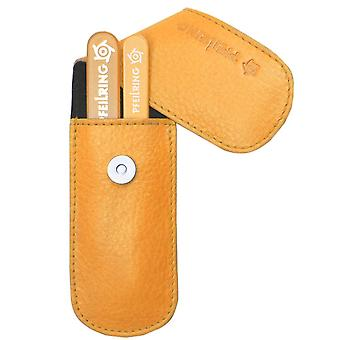 Stylish arrow ring manicure set manicure case nappa leather orange with glass nail files and tweezers