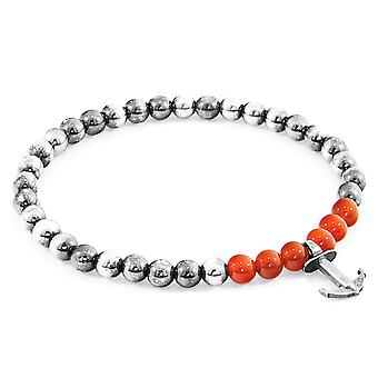 Anchor & Crew Red Carnelian Keel Silver and Stone Bracelet