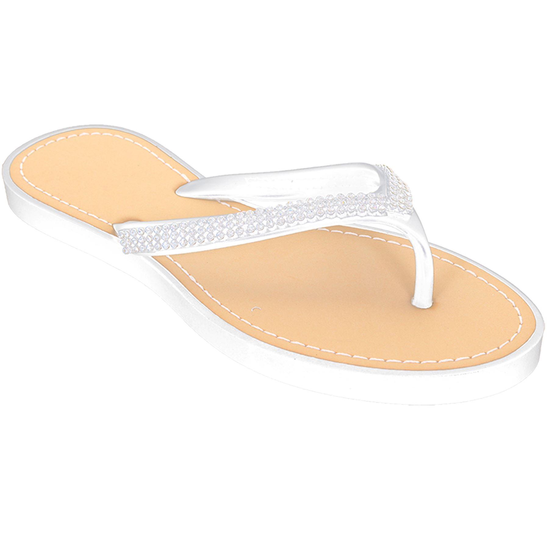 Ladies Comfy Diamante Thong Sandals Women's Casual Summer Flip flop Shoes
