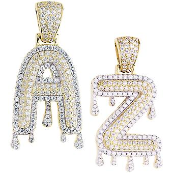 Premium bling sterling silver DRIP letter trailers A - Z