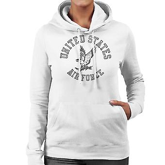 US Airforce Eagle Black Text Women's Hooded Sweatshirt