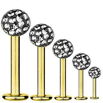 Bar di Labret Piercing oro placcato titanio 1, 2mm, Multi sfera di cristallo Black Diamond | 5-12 mm