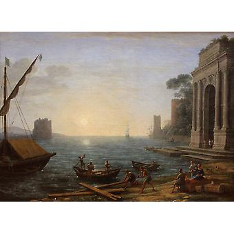 A Seaport at Sunrise, Claude Lorrain, 50x40cm