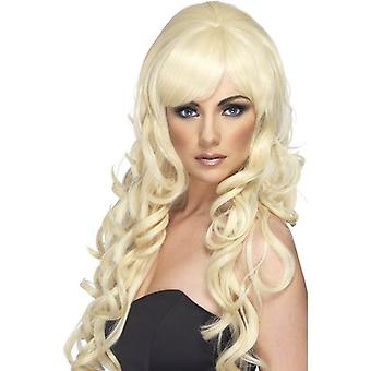 Lang blond krullend pruik, Pop Starlet pruik, Fancy Dress accessoire