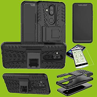 For Nokia 3.1 plus 6.0 inch hybrid case 2 piece black + tempered glass bag case cover sleeve new