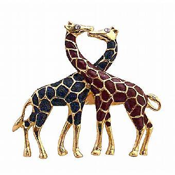 पशु ब्रोच उपहार प्रतीक प्रेम जुड़वां जिराफ सोने के मढ़वाया ब्रोच