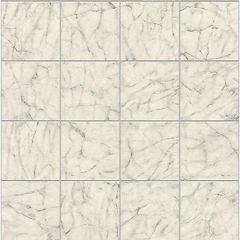 Rasch Marble Tile Pattern Wallpaper Off White Vinyl Kitchen Bathroom Embossed