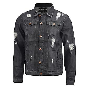 Mens denim ripped jacket loyalty and faith